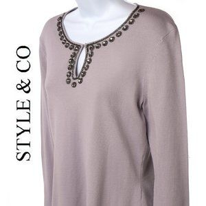 Style + Co Rhinestone Embroidered Knit Pullover